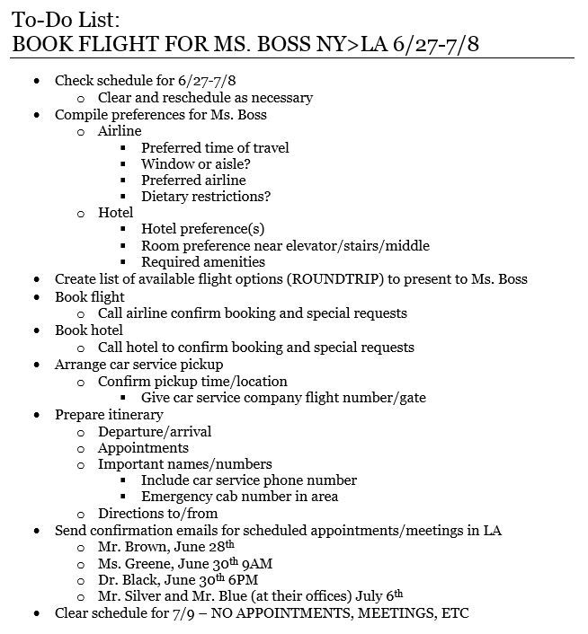 Example of a To-Do list coordinating travel arrangements from NY - another word for to do list