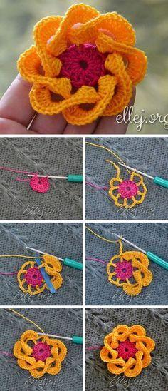 How To Crochet Folded Petals Flower