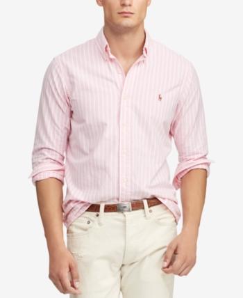 0ca9b9e968f4f Polo Ralph Lauren Men s Classic Fit Striped Oxford Shirt - Pink Stripe XXL