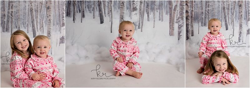 little girl, pink, white, pajamas, matching, sled, presents, photos, photography, winter, christmas, holiday, baby girl, sisters