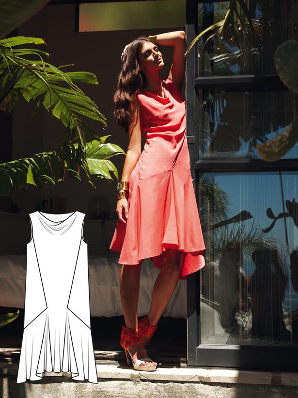 Cowl Neck Dress 07/2012 #102   Bekleidung und Kleider