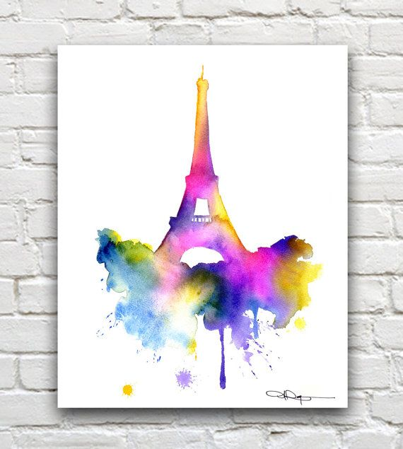 Eiffel Tower Art Print Paris Abstract Watercolor Wall Decor