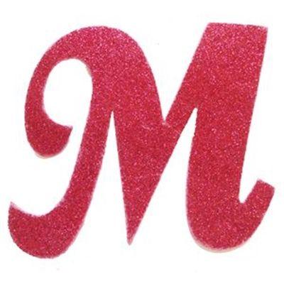 """Letra Cursiva em Gliter - M - Pink    Letter """"M""""   Pinte"""