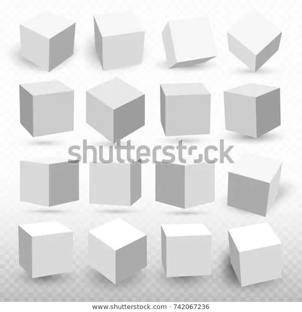 Set Cube Icons Perspective 3d Cube Stock Vector Royalty Free 742067236 3d Cube Cube Perspective Drawing Lessons