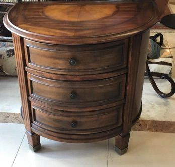 Demilune console with 3 drawers can be an end table night stand or