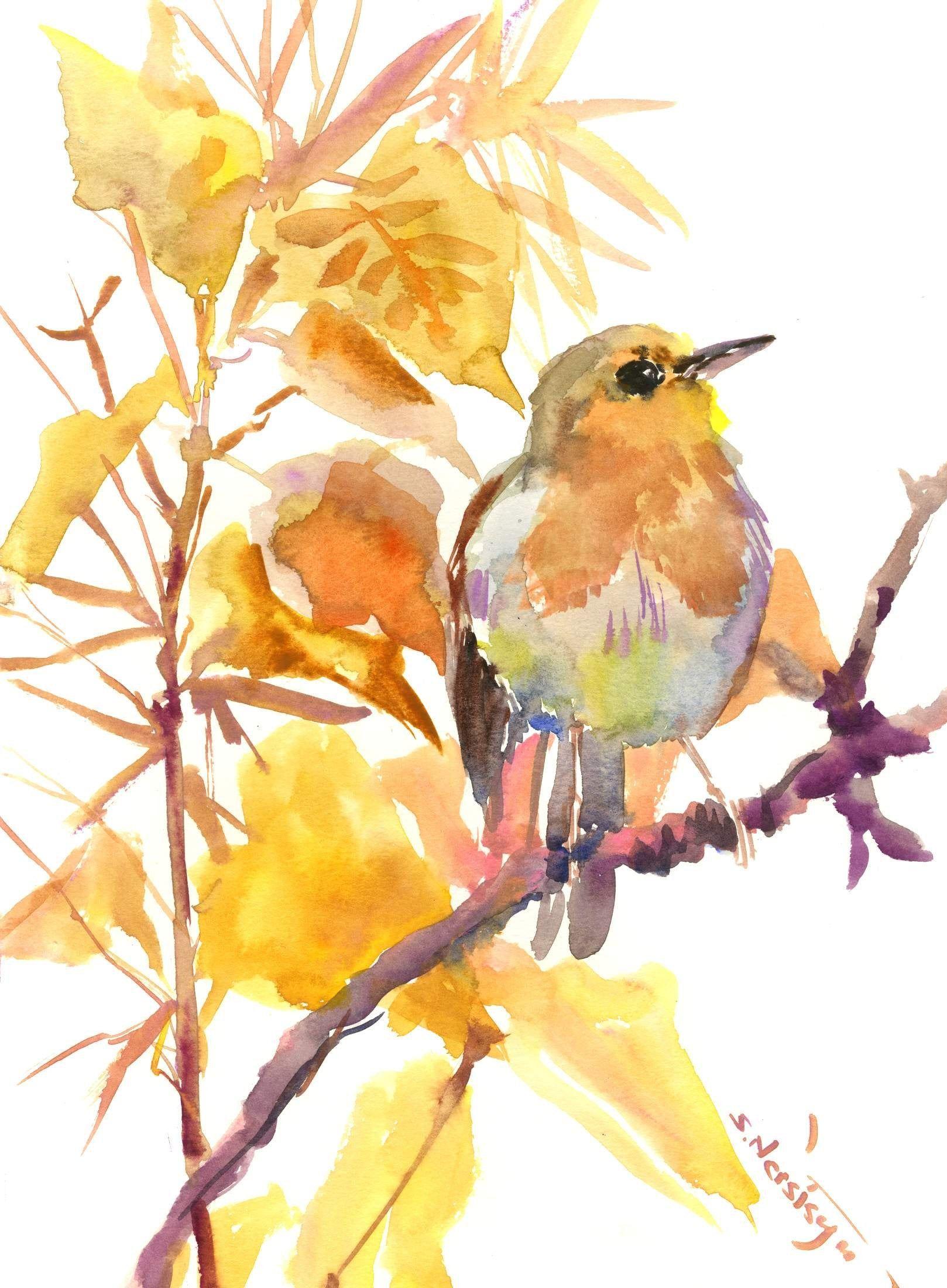 Autumn Colors Original 9x12 Cold Pressed Watercolor Illustration