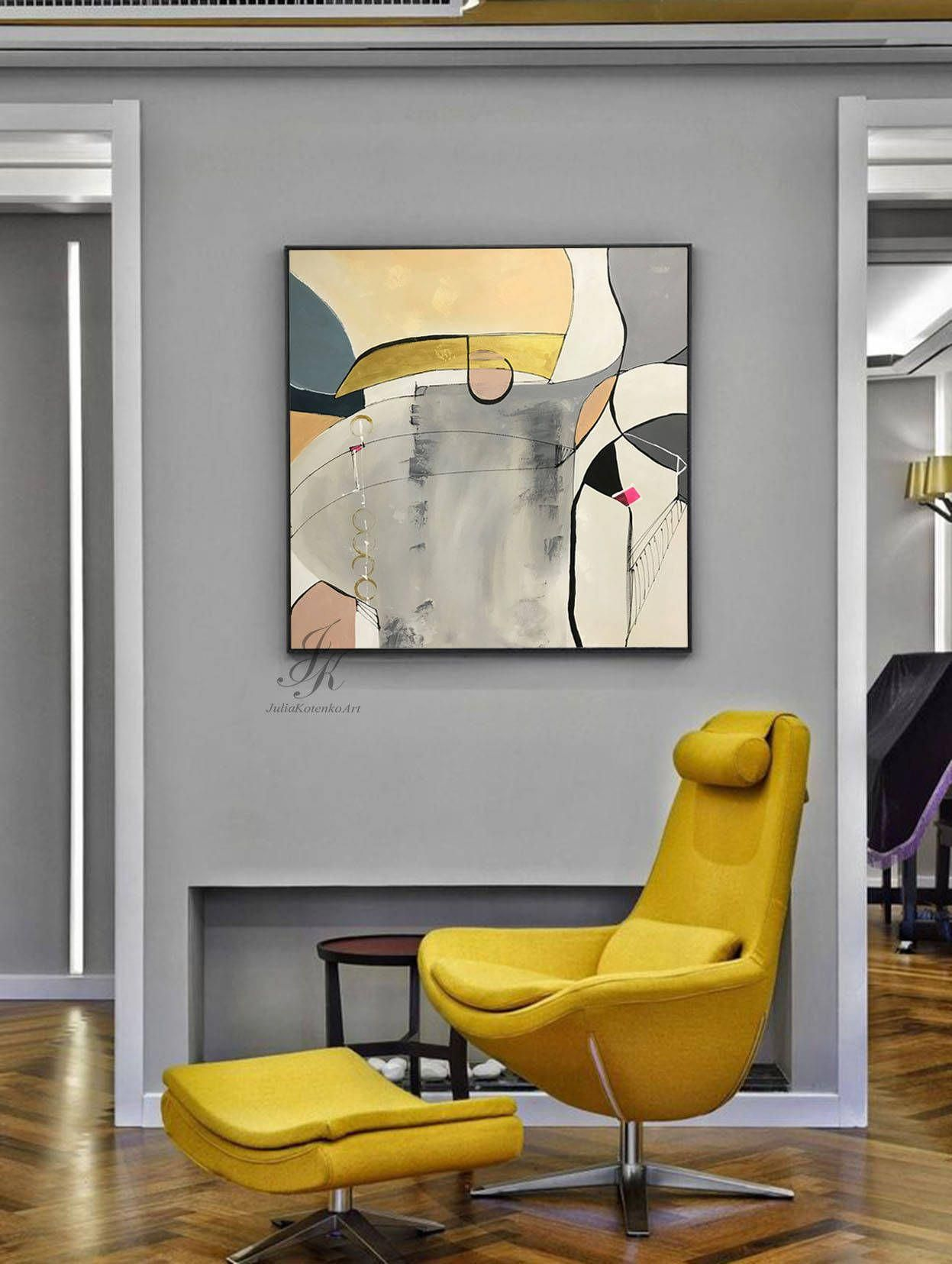 Original large abstract painting gold leaf art large wall art