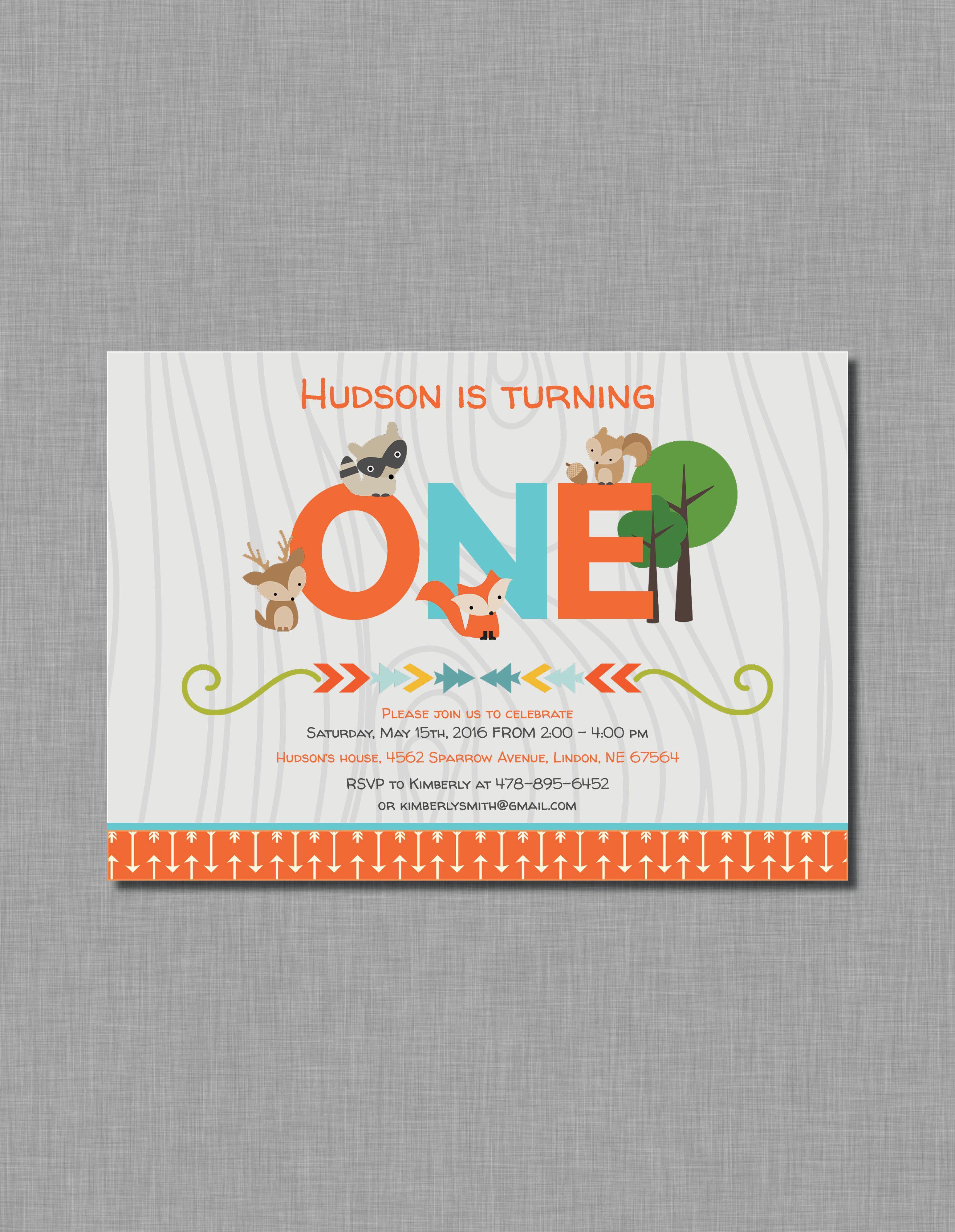 woodland first birthday invitation fox deer orange blue mb73