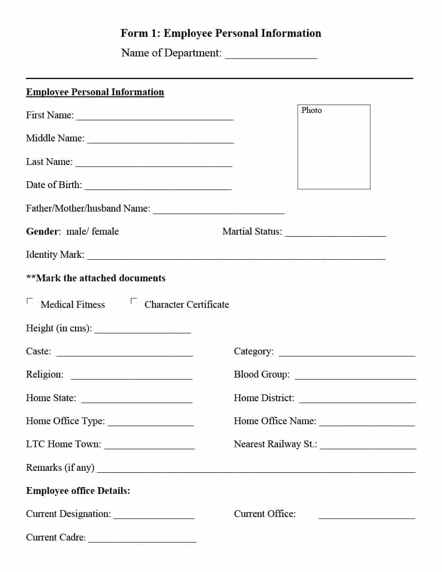 The Awesome 47 Printable Employee Information Forms Personnel