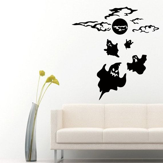 wall decals halloween night ghosts flying home by decalmyhappyshop