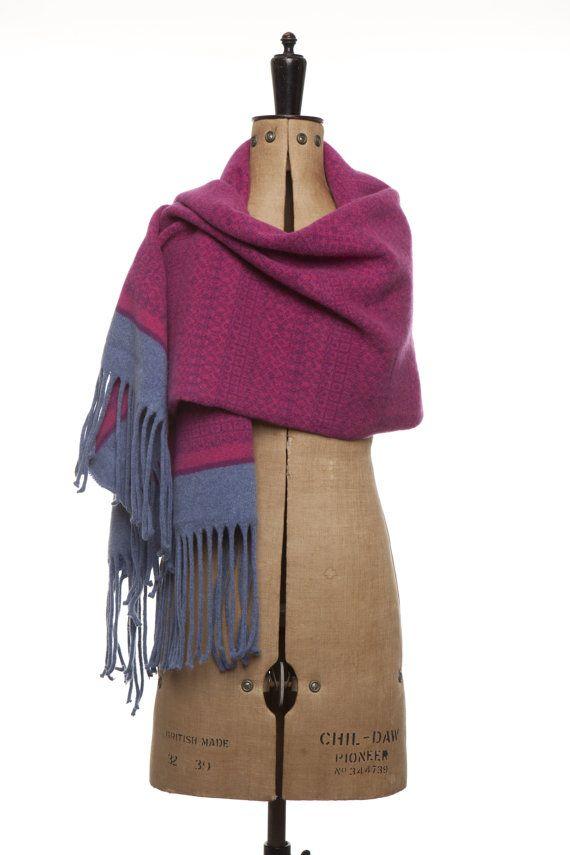 Cozy Knitted Fair Isle Scarf Wrap Blanket with by SuzieLeeKnitwear