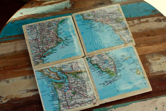Travertine Tile Coasters With Map Decoupage By Wewhowander On Etsy 14 00