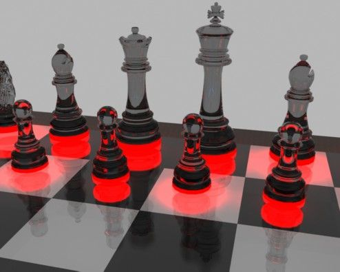 Furniture Cool Black Gl Chess Pieces With Led On Board Design By Designer Rajziel Inspiring Set For Additional Room