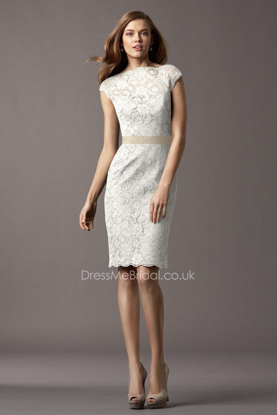 sheath knee length bateau neck lace bridesmaid dress with cap ...