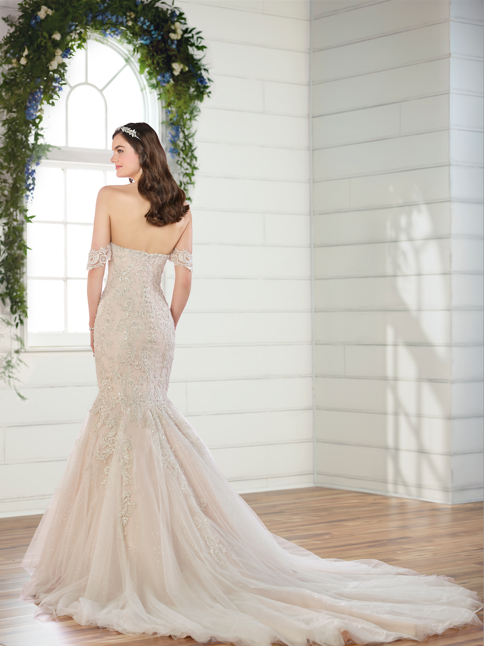Off the shoulder beaded fit and flare wedding dress