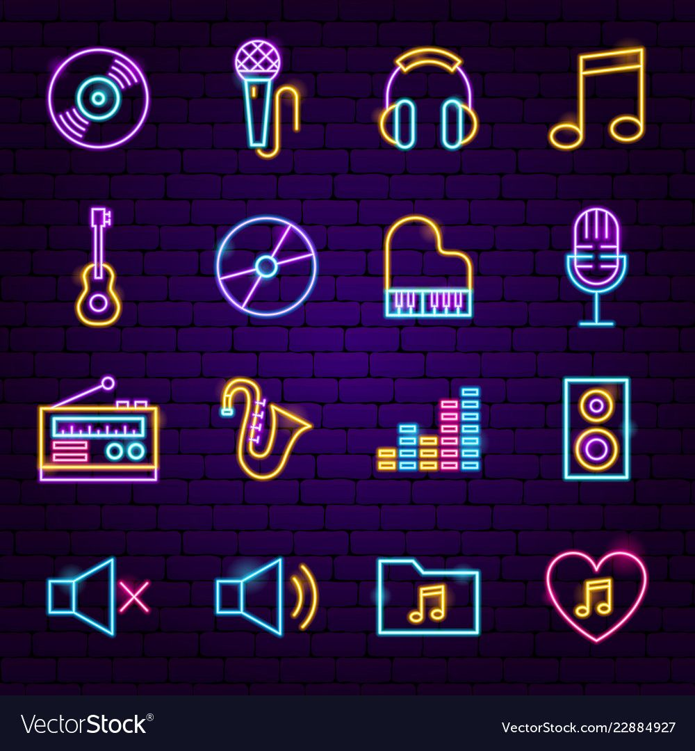 Music neon icons vector image on VectorStock in 2020