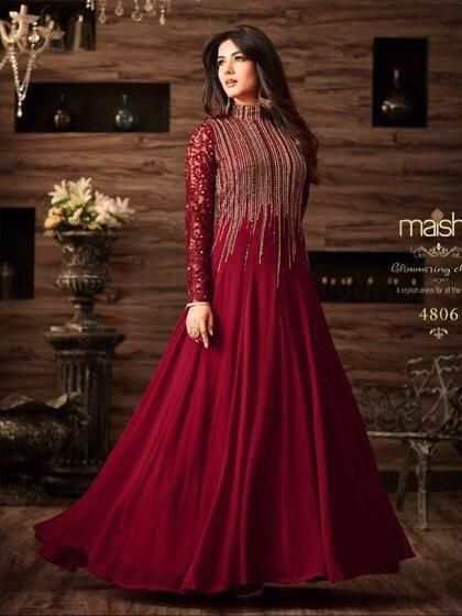 53881a017a Buy maroon net abaya style anarkali suit online sku code this color party  for women comes