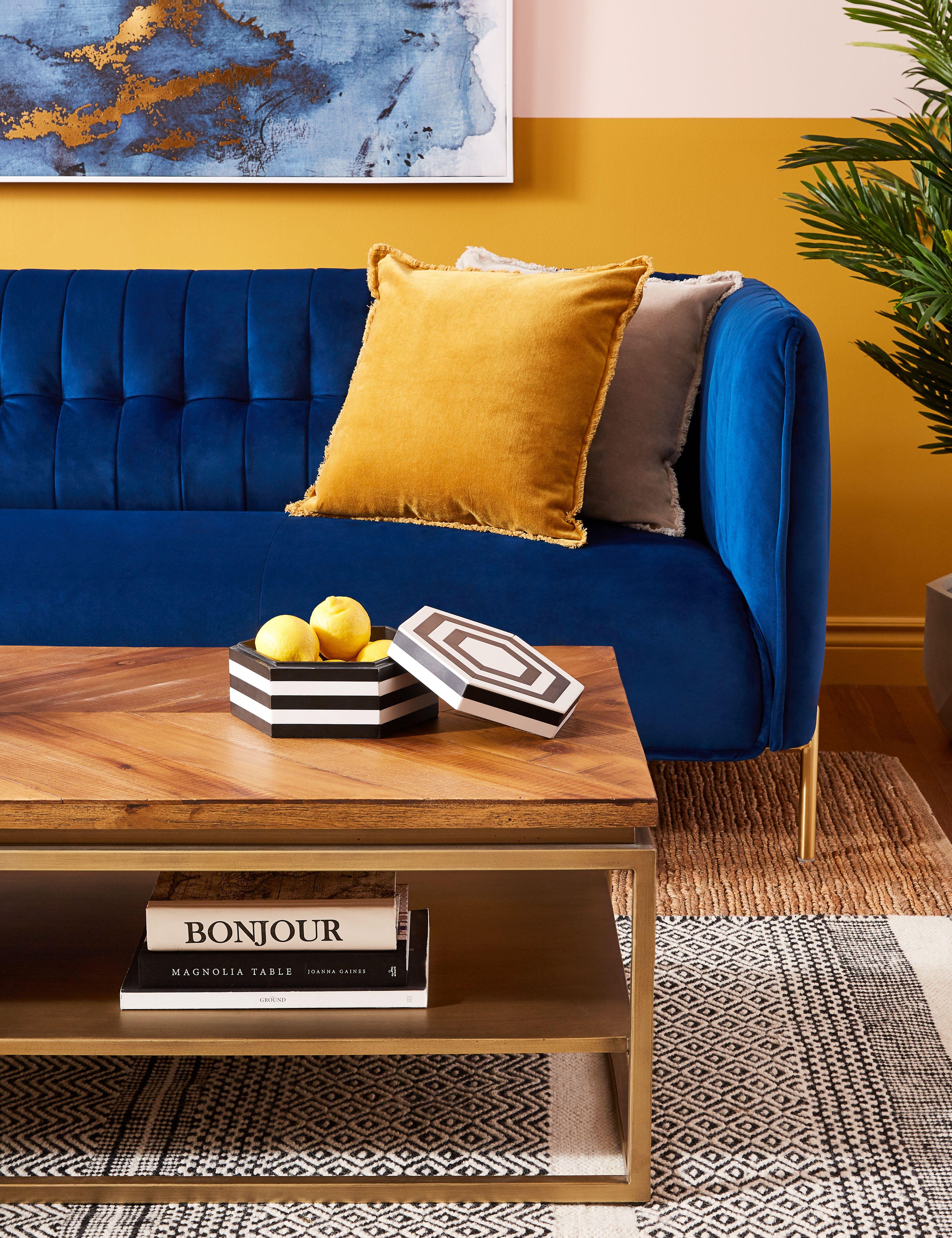 Honey Linen Cushion 50cm X 50cm Structube Orilla Blue Sofas Living Room Blue And Yellow Living Room Velvet Sofa Living Room