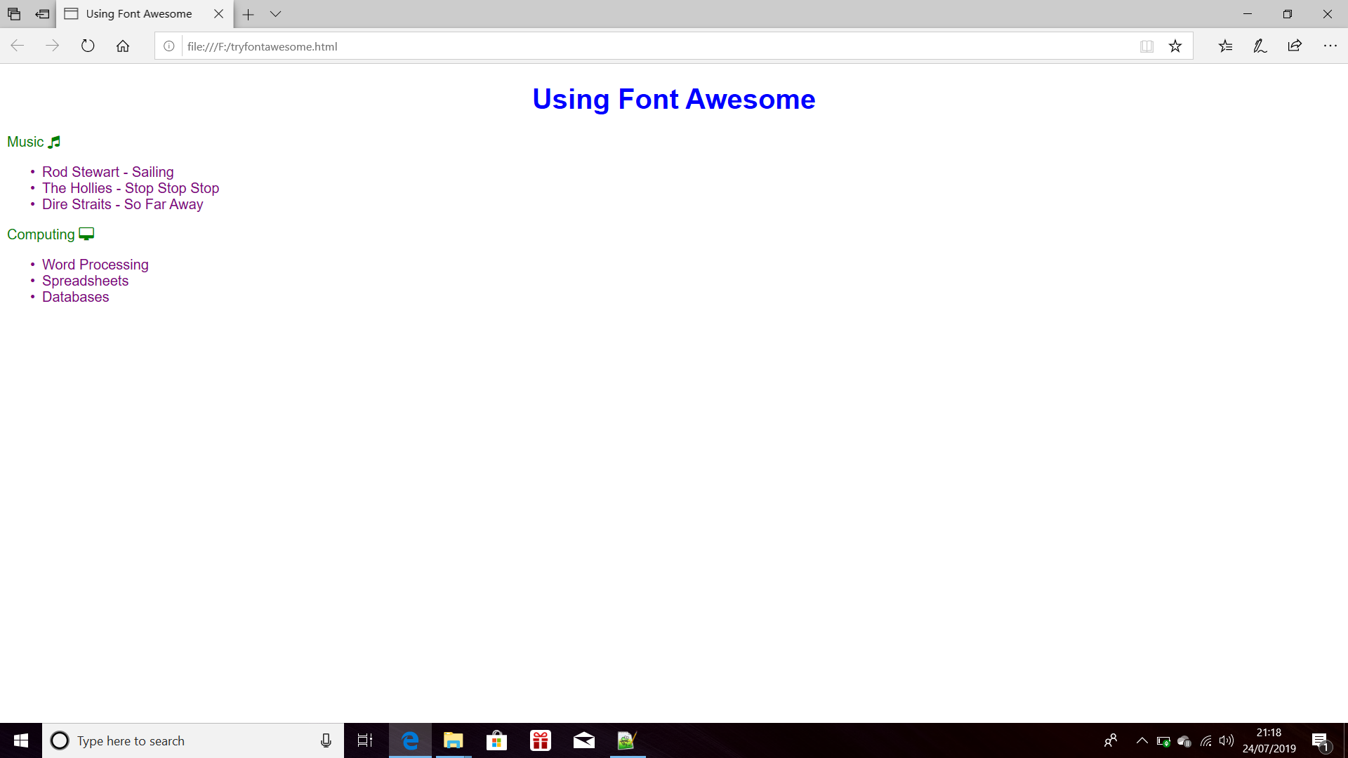 Screenshot of a Previewed Web Page using Font Awesome for
