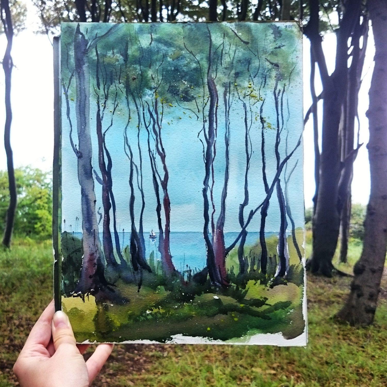 Gespensterwald an der Ostsee. Original handmade aquarelle von abramarin auf Etsy