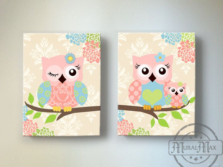 Kids Canvas Wall Art kids wall art, owl nursery baby girl owl decor, owl nursery decor