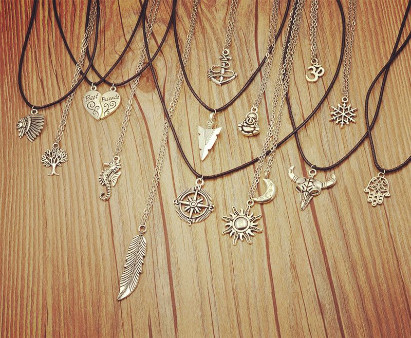 New fashion jewelry antique silver plated moon sun mix design ...