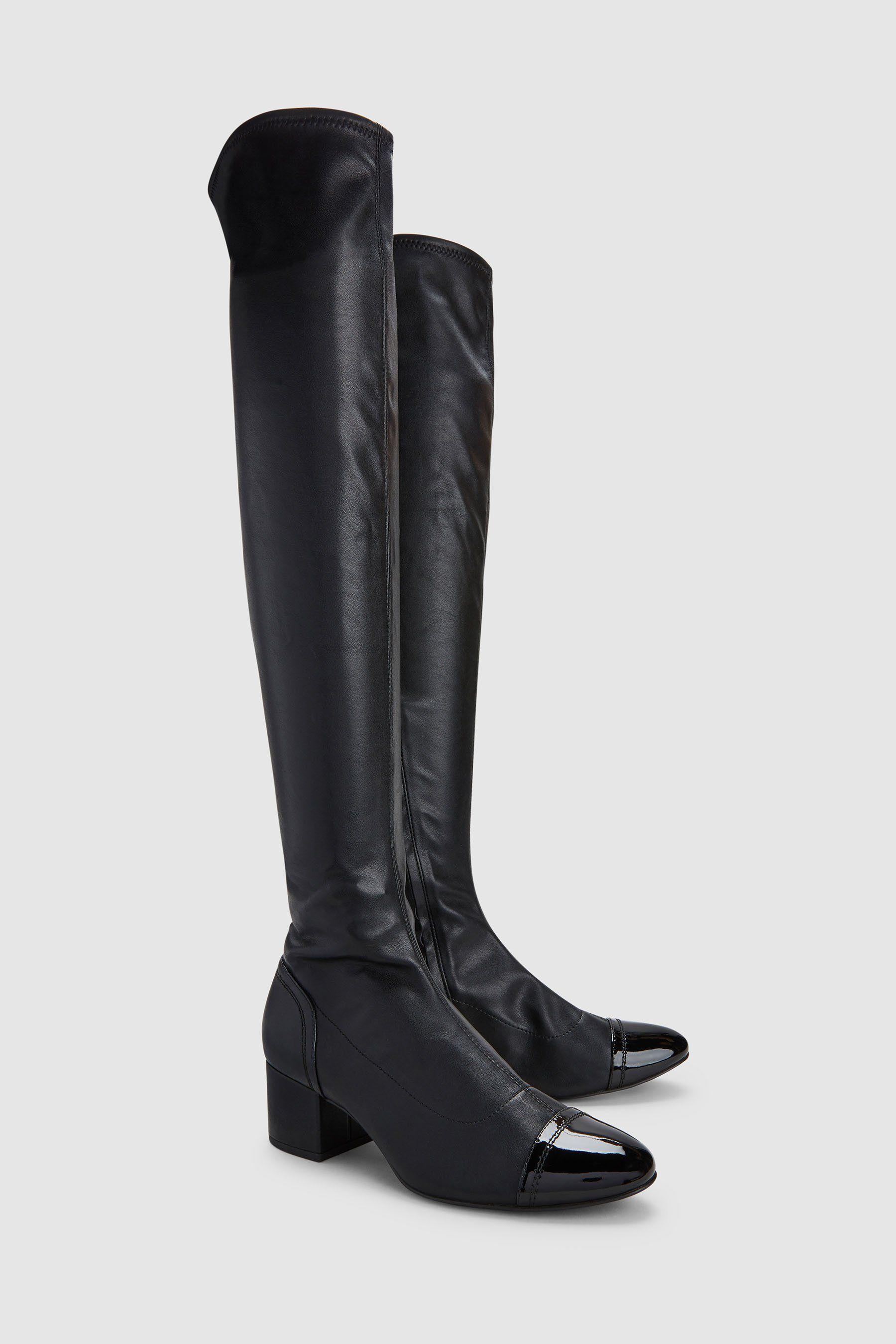 5f64f1ac856eac  Schuhe  Damen  Next  OverkneeStiefel  niedrigem  Blockabsatz  schwarz   05057823910769
