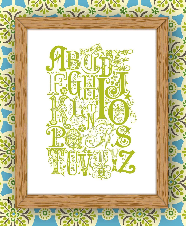 Art Print - Vintage Inspired Alphabet Print - JPress Designs, vintage, letters, alphabet, monogram, nursery, art, home decor, children, baby by JPressDesigns on Etsy https://www.etsy.com/listing/64450271/art-print-vintage-inspired-alphabet