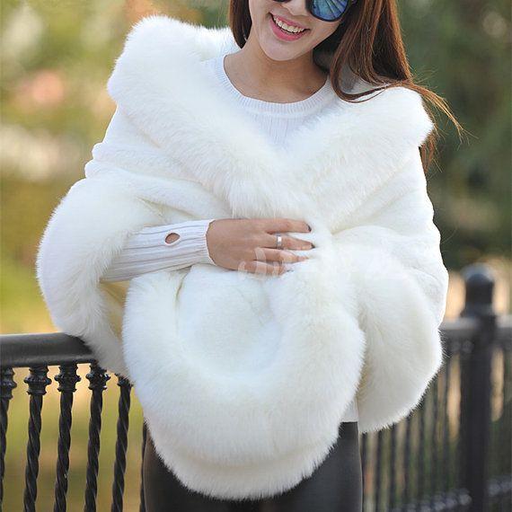 Ivory Faux Fur Fox Cape Shrug Stole Bolero Jacket Shawl Wrap