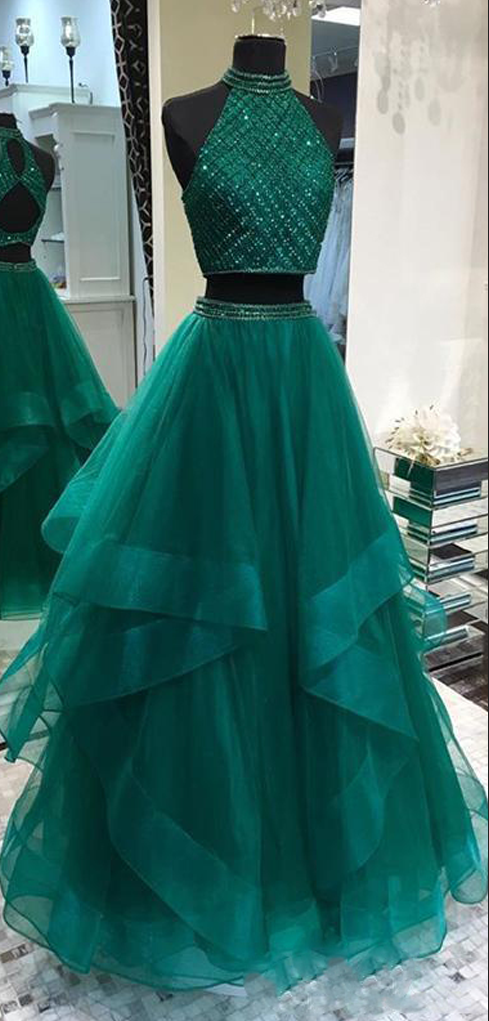 Fabulous Halter Two Pieces Green Open Back Long Prom Dresses 5cddc7c77e