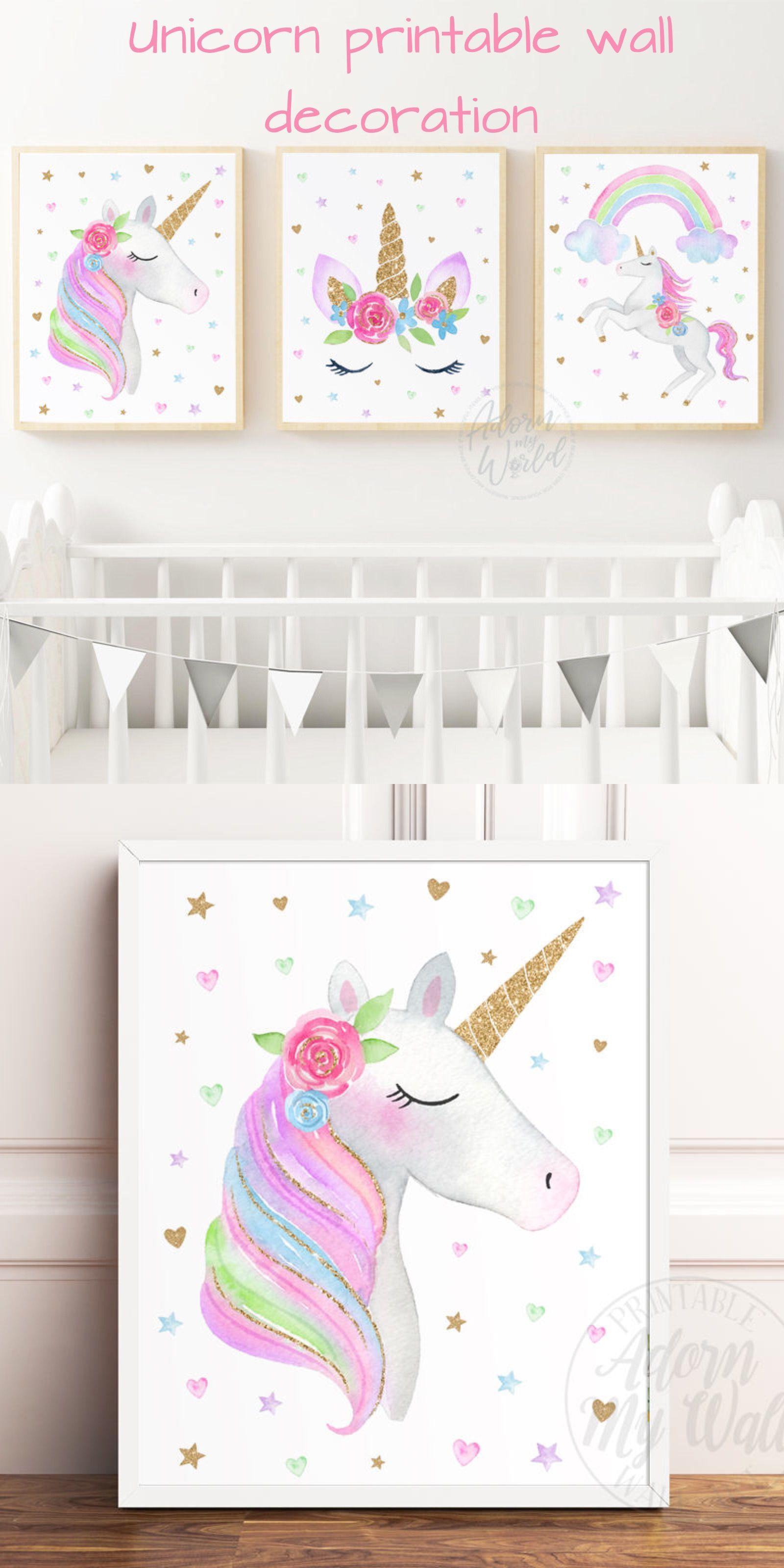 Unicorns Prints Unicorn Print Set Unicorn Printable Wall Art