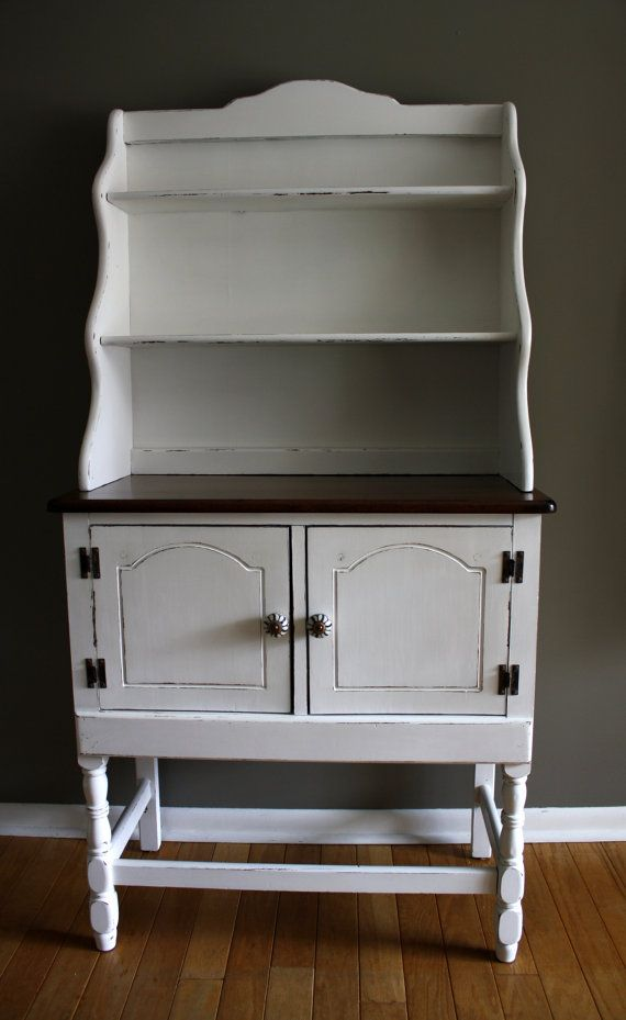 White Antique Hutch Bakers Rack Small Buffet For The