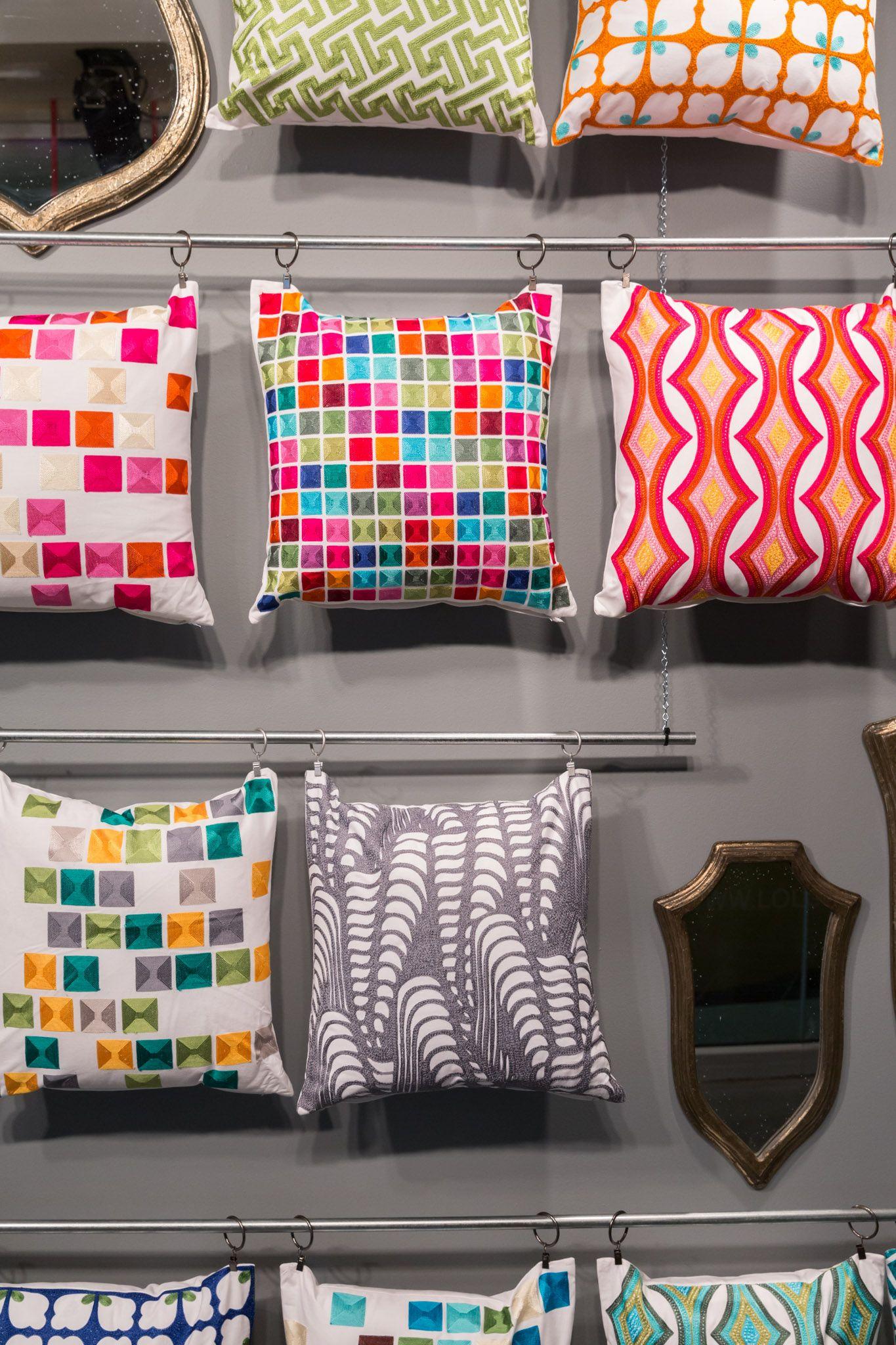 pillow wall loloi rugs vegas market showroom