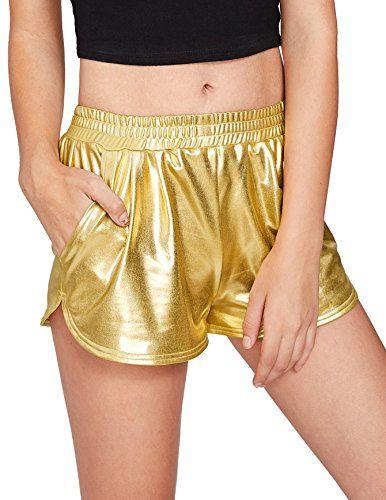 6057f567d1 SweatyRocks Women's Yoga Hot Shorts Shiny Metallic Pants ...   Fave ...