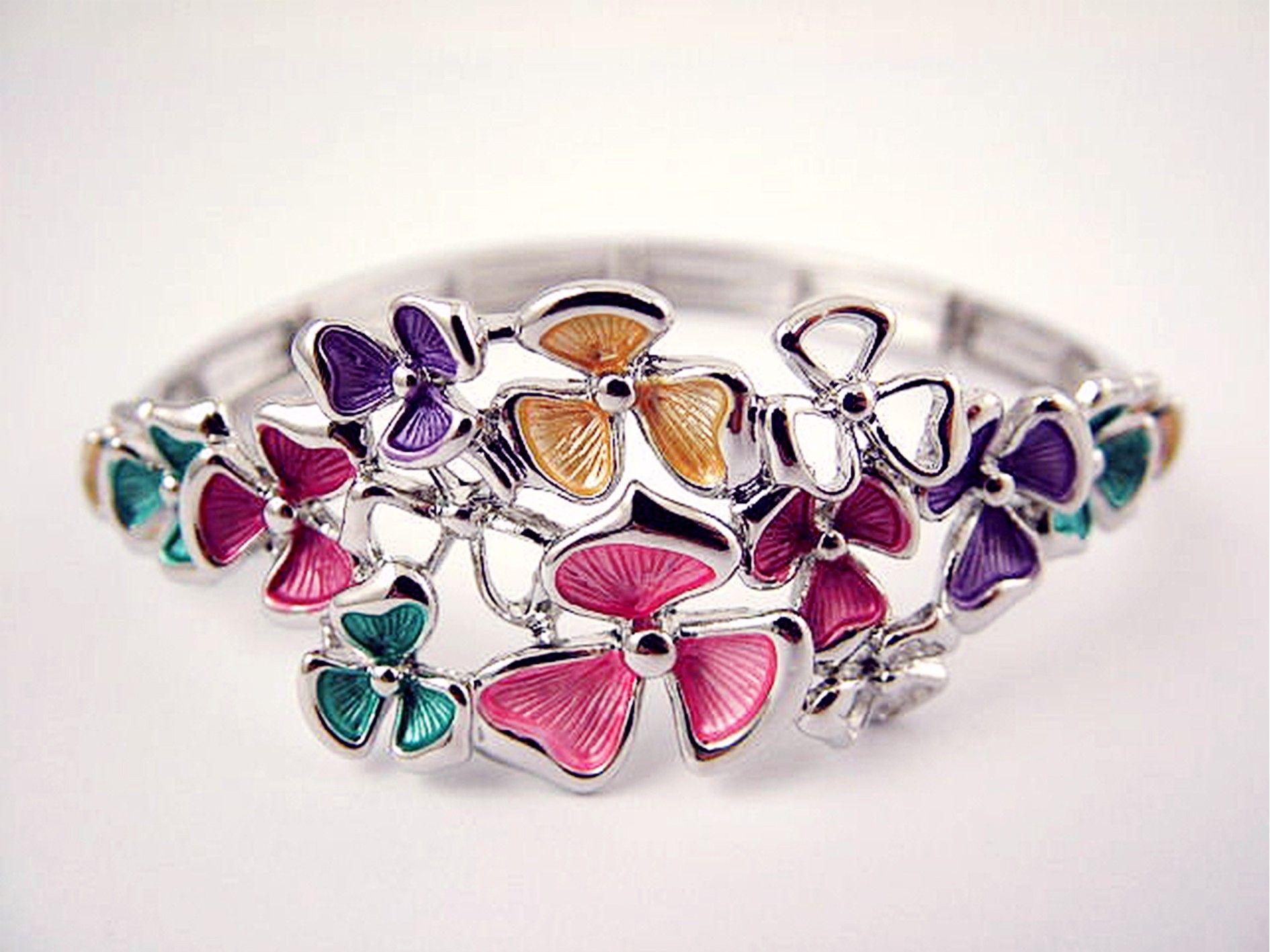 colourful flowers rhodium bracelet