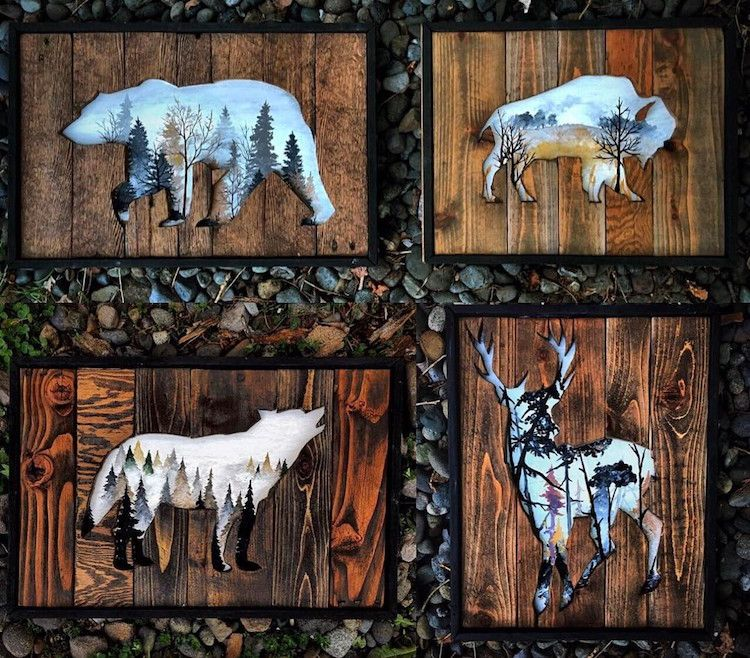 Beautiful Landscape Paintings Emerge from Creatively Carved Wood Frames #woodart
