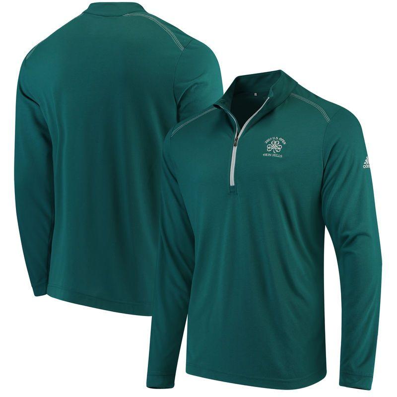 Men's adidas Green 2017 U.S. Open Ultra Lightweight UPF Quarter-Zip Pullover Jacket