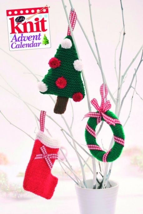 quick knit christmas card decorations free knitting patterns
