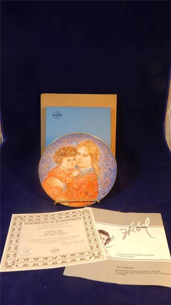 1985 Knowles Edna Hibel Erica & Jamie Mother's Day China Collector's Plate MINT / $32