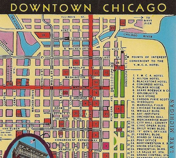 Vintage Chicago Map Postcard Downtown Chicago Chicago - Chicago hotels map