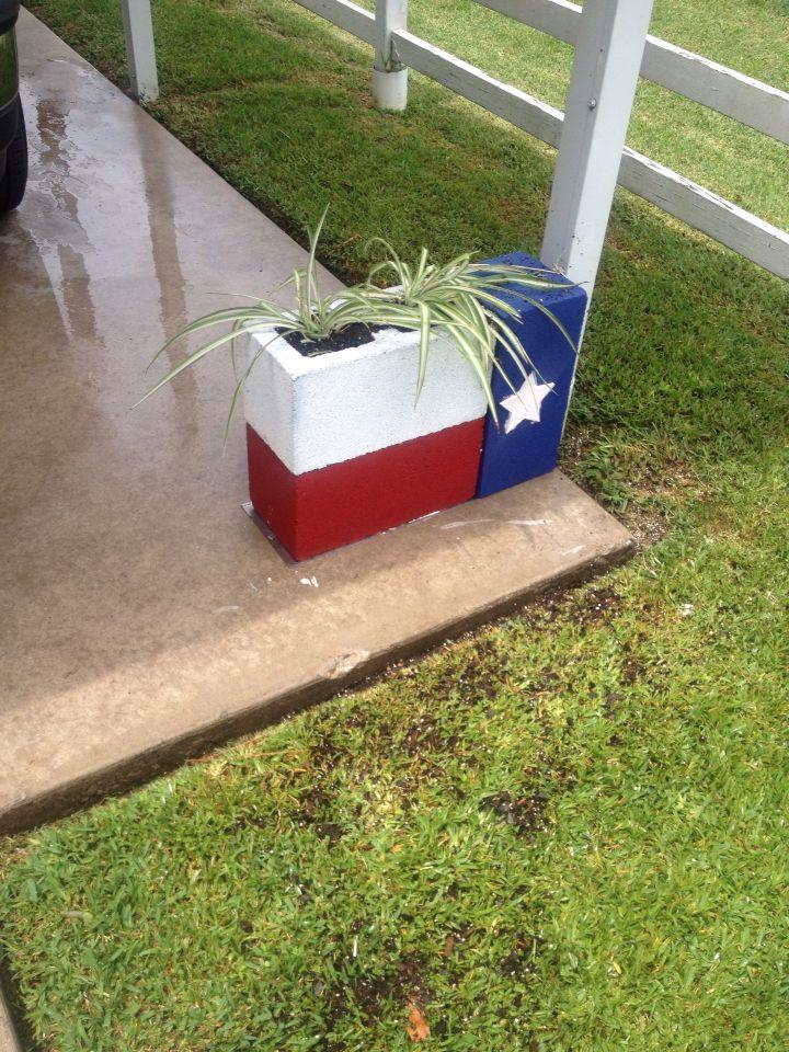 Texas Flag planter made from three Concrete Blocks