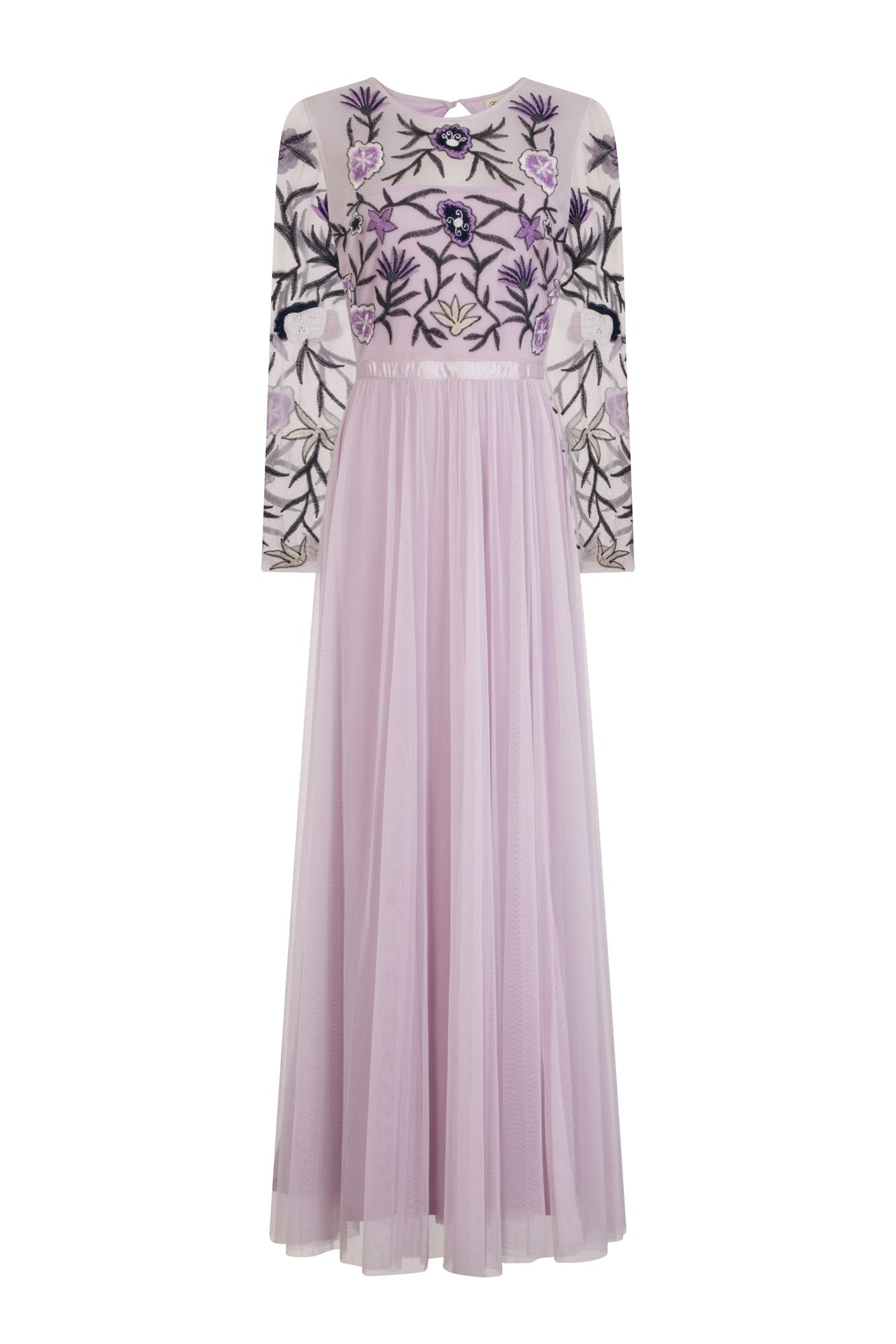 f95c8bb31 Frock and Frill Doria Lilac Purple Embroidered Maxi Dress with Tulle Skirt  and Open Back