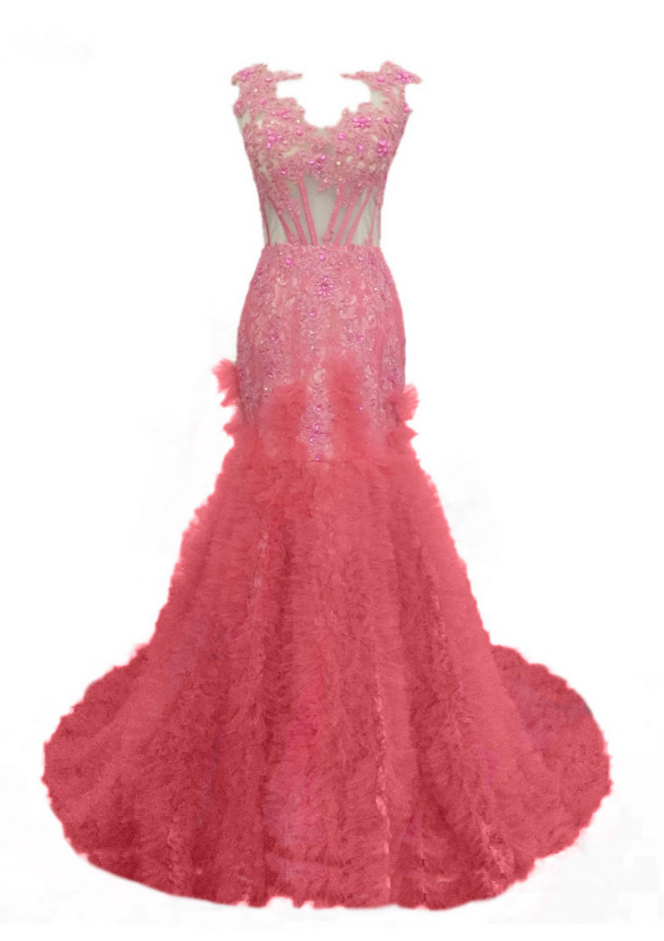 Long Pink Tulle Appliques Beaded Prom Dresses Elegant Mermaid Luxury ...