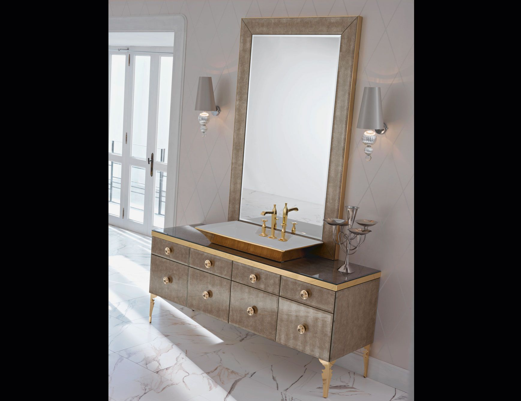 High End Italian Bathroom Vanity Shown In Lacquered Bronze Glass In A 70 9 Quot Width Counter Top In Glass With Monoblock Washbasin And 4 Lower Pull Out Drawe