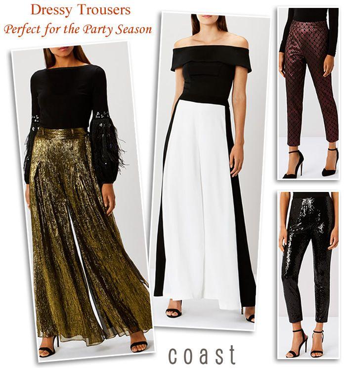 Coast Partywear evening trousers shimmer jacquard sequin mono wide leg  jumpsuits