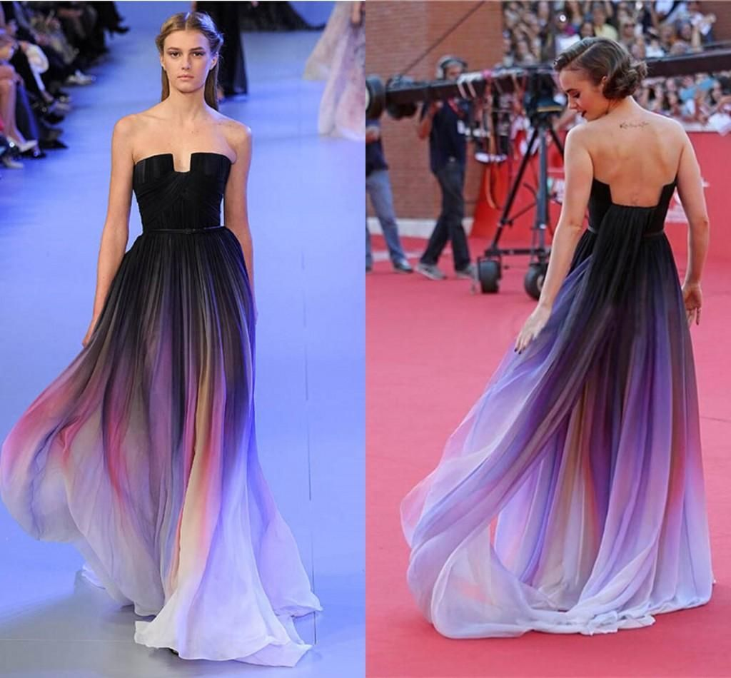 b9a90a605b 2015 New Cheap Elise Saab Ombre Strapless Prom Dresses A-Line Sleeveless  Pleats Evening Gowns Chiffon Formal Dress With Belt CPS173 Online with ...