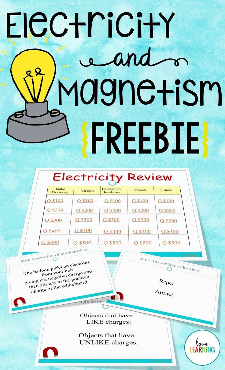 Electricity and Magnetism Review Game {Freebie} | Science ...