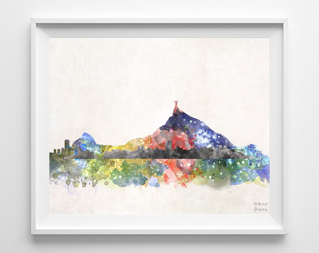 Rio De Janeiro Skyline Print Brazil Cityscape City by InkistPrints