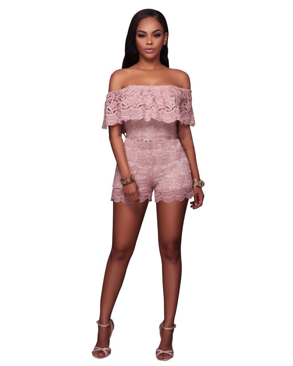 95c7570598b Off Shoulder Short Sleeves Short Lace Jumpsuit