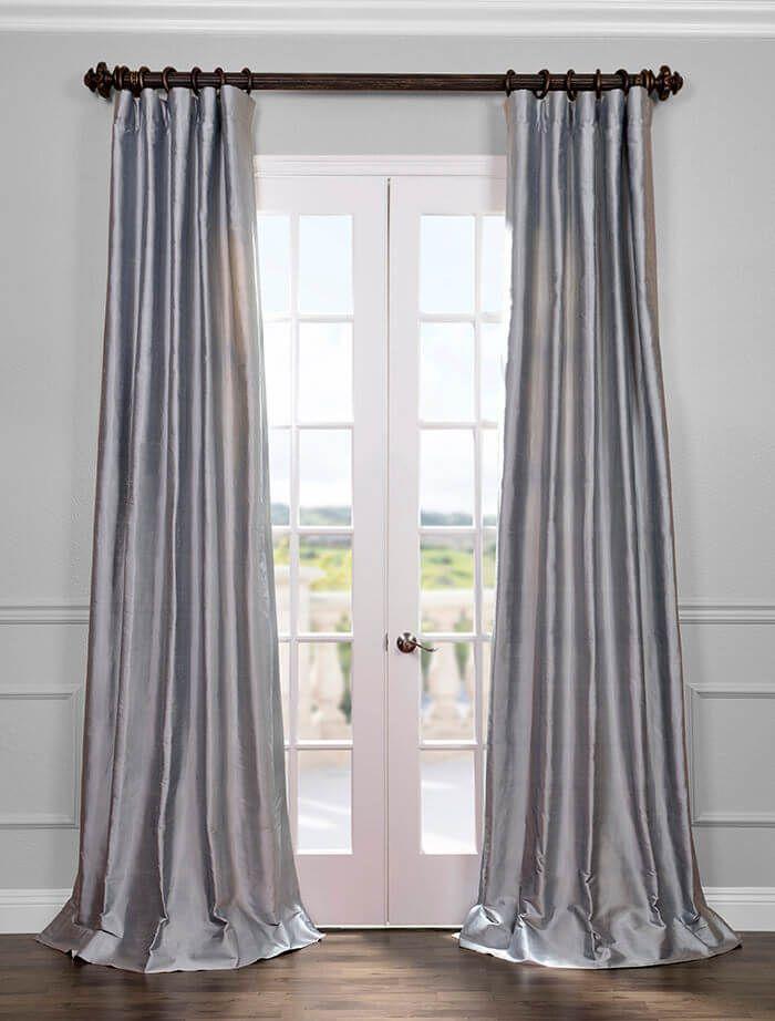 Blue Grey Silk Curtains Silk Curtains Half Price Drapes Curtains